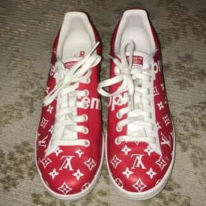 Customized LV Supreme Stan Smith Adidas MENS 9