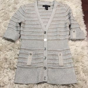 WHBM silver sparkly sweater with gold stripes