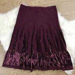 Free People Wine Velvet Lace Skirt