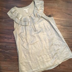 J. Crew Gold Shimmer Cotton Blouse