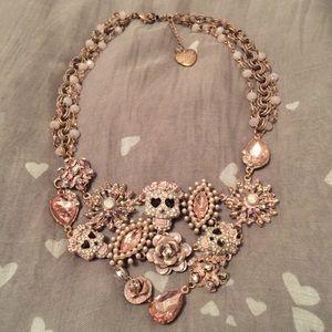 Pinktina Skull Heart Flower Necklace Betsy Johnson