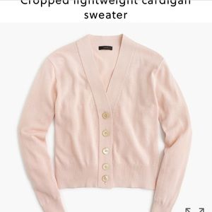 NWOT J. Crew cropped lightweight cardigan pink