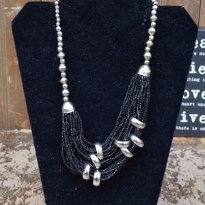 Black Multi Strand Beaded w/ Silver Decor Necklace