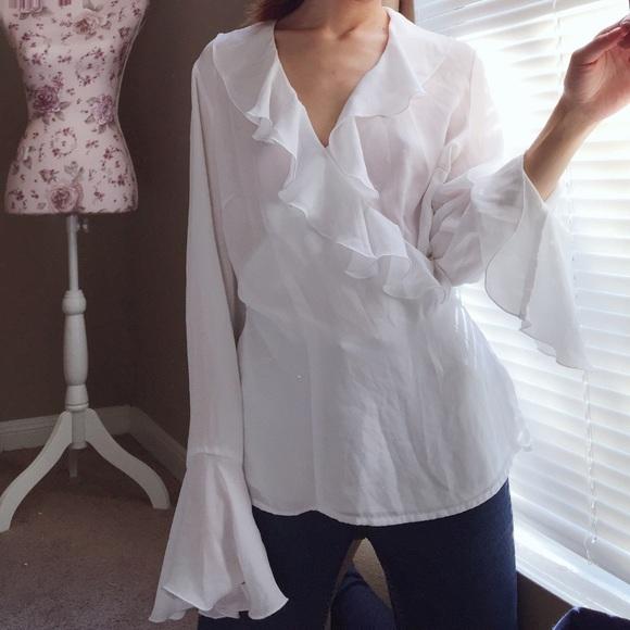 80a256a947afbe Vintage white sheer ruffle wrap blouse. M_5a160f542fd0b7b4fc00578a