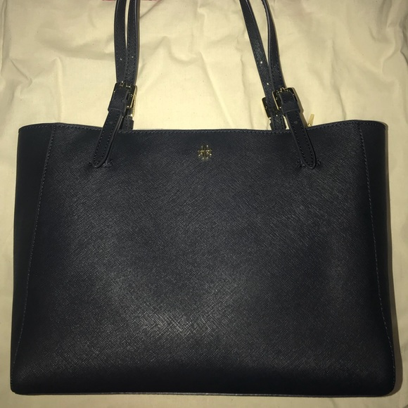 9b7ce7395 Tory Burch Bags | York Small Buckle Tote Navy Blue | Poshmark