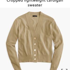 J. Crew cropped lightweight cardigan in tan