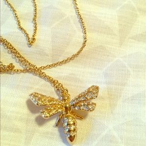 Fossil bee bug insect gold necklace pendant new