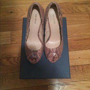 Snake embossed nude peep toe heels