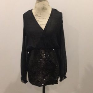 Marciano sexy black sequence sheer Mini