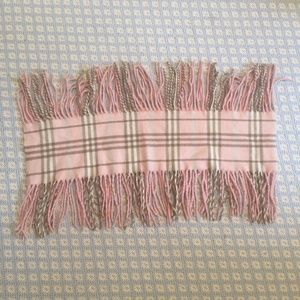 AUTHENTIC PINK BURBERRY FRINGE CASHMERE SCARF