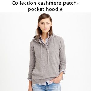J. Crew collection patch pocket cashmere hoodie