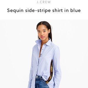 J. Crew sequin side stripe button down shirt blue