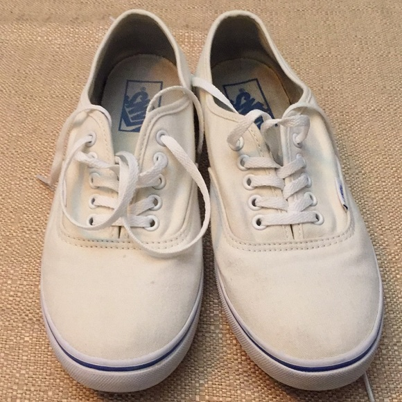 Vans Lace Up Cream Shoes Washed 2x To