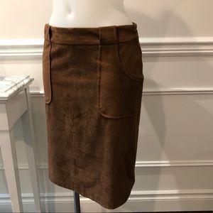 BB Dakota Faux Swede brown zip up the back skirt