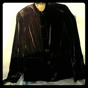 Chocolate brown silk blend velvet jacket.