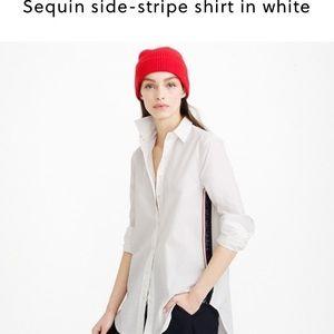 J. Crew sequin side stripe shirt in white