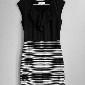 Chiffon Ruffle Dress Black White Stripe Ann Taylor