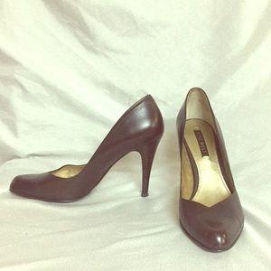 Nine West leather brown high heels!