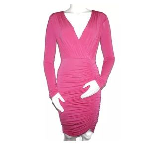 Pink Midi Cocktail Dress Long Sleeves, Open Back