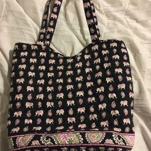 Vera Bradley pink elephants pattern bag EUC