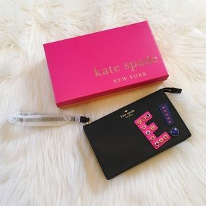 "Kate Spade Leila ""E"" Black Leather Wristlet"