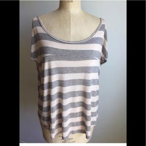 Pink/gray striped loose top