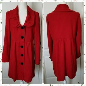 INC bright RED fall winter coat size 8-12 vintage
