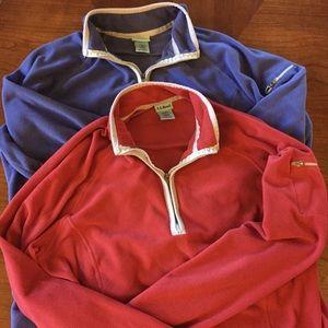 L. L. Bean bundle two quarter zip fitness fleece M