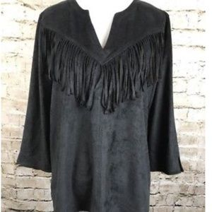 Express faux suede fringe shirt brand new size XS