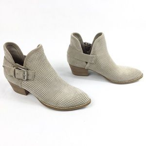 DOLCE VITA TAUPE SUEDE PERFORATED ANKLE BOOTS 7.5