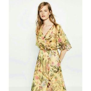 Zara | Sheer Tropical Flowers Robe Dress