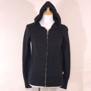 The Northface Black Knit Zip Front Hooded Sweater