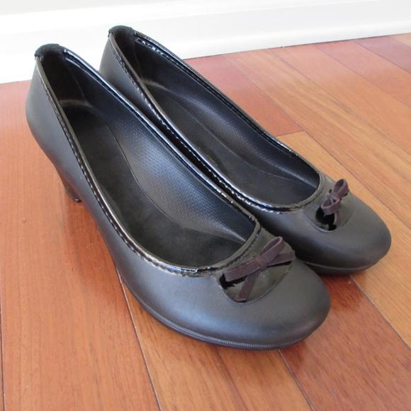 80393a6ce CROCS Shoes - CROCS Lydia Black Wedge Heels Shoe Patent Bow 9W