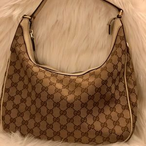 Gucci White Canvas GG Hobo Bag