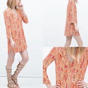 Zara women's peach paisley tunic bell sleeve top