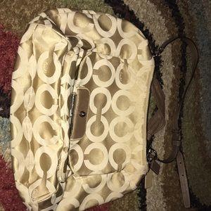 Tan and cream Coach shoulder bag