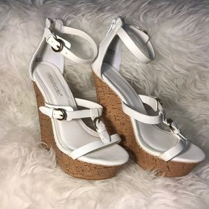 Shoedazzle Sonja White Tall Wedges