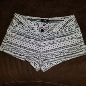 Very Pale Pink and Black Print Shorts