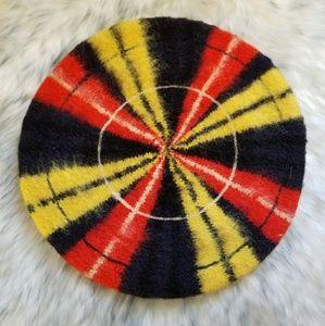 Vtg Scottish wool hat beret tam Scotch plaid red