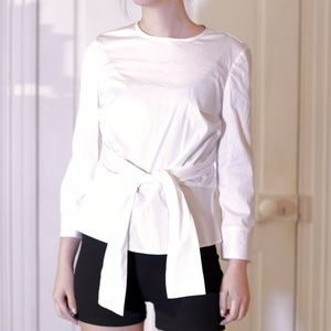 Zara Tie Detail White Poplin Cotton Blend Blouse