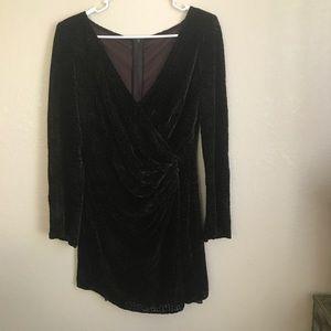 Velvet iridescent wrap dress