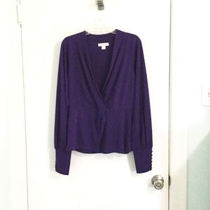 Coldwater Creek Faux Wrap Blouse with Button Cuffs