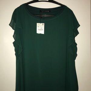 Zara Green Silk Top