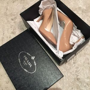 AUTHENTIC PRADA BEIGE PATENT POINTY TOE PUMPS