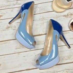 Marc Fisher patent leather platform heels blue