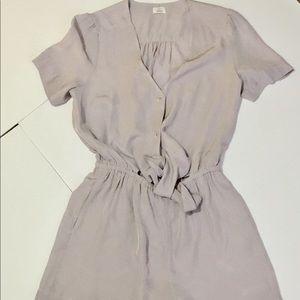 Wilfred Aritzia Lavender Button Tie short Romper