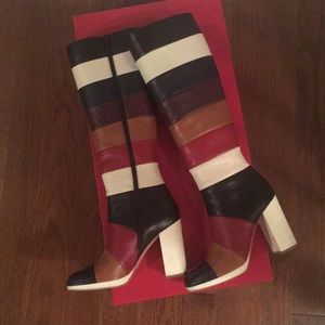 Valentino Multi Color Stripped Tall Leather Boots