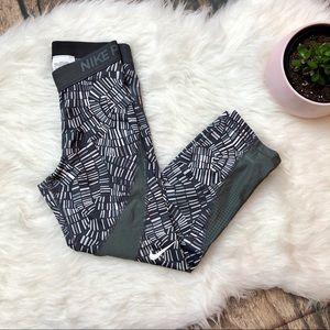 NIKE PRO Gray Mosaic Perforated Mesh Crop Leggings