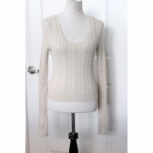 FREE PEOPLE Cable Knit Beige Sweater Size M