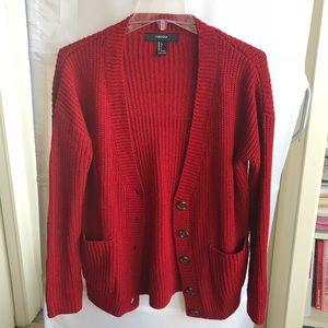 Red chunky cardigan